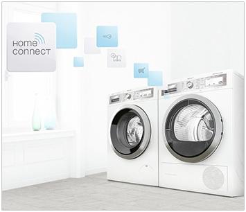 Visuel représentant un lave-linge et un sèche-linge Home Connect