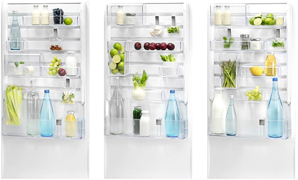 Différentes organisations possibles de la contre-porte d'un réfrigérateur Electrolux Customflex
