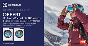 Pour l'achat de certains lave-linge / sèche-linge Electrolux, la marque offre un bon d'achat Helly Hansen de 100 Euros