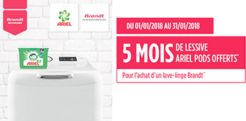 Pour l'achat de certains lave-linge Brandt, la marque offre l'équivalent de 5 mois de lessive Ariel Pods