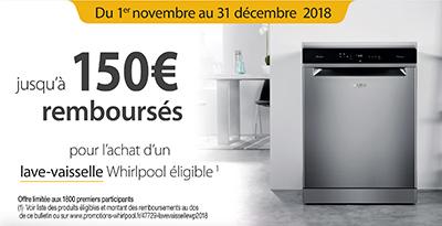 Jusqu'à 150 Euros remboursés pour l'achat de certains lave-vaisselle de la marque Whirlpool