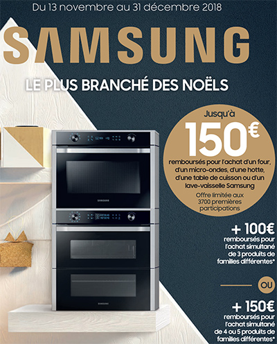 Jusqu'à 150 Euros remboursés pour l'achat de certains appareils électroménager Samsung