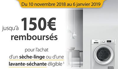 Jusqu'à 150 Euros remboursés pour l'achat de certains sèche-linge ou lave-linge séchants de la marque Whirlpool