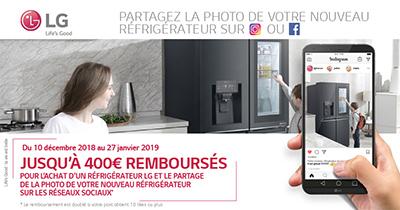 Offre réfrigérateurs LG : jusqu'à 400 Euros remboursés