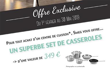 Bon plan Smeg - un ensemble de casseroles offertes pour l'achat de certains centre de cuisson