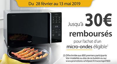 Whirlpool rembourse 25 Euros ou 30 Euros pour l'achat de certains fours micro-ondes