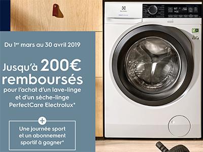 Electrolux rembourse jusqu'à 200 Euros pour l'achat de certains lave-linge avec un sèche-linge
