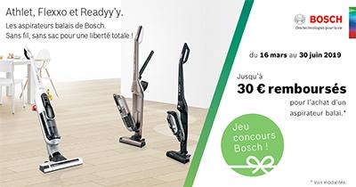 Bosch rembourse jusqu'à 30 Euros pour l'achat de certains aspirateurs balais
