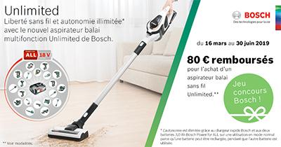 ODR Bosch : 80 Euros remboursés pour l'achat d'un aspirateur sans fil de la gamme Unlimited