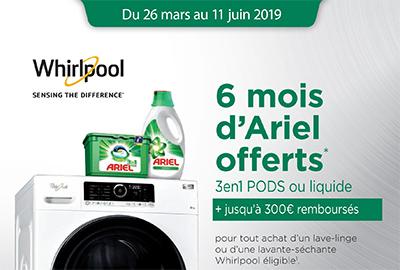 ODR lave-linge Whirlpool : jusqu'à 300 Euros remboursés et 6 mois de lessive Ariel offerts