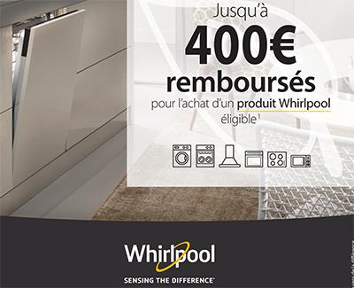 Whirlpool rembourse jusqu'à 400 Euros pour l'achat de certains appareils électroménager chez une sélection de marchands