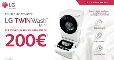 LG rembourse 200 Euros pour l'achat d'un lave-linge TwinWash Mini dans les enseignes ou sites Internet affichant l'opération