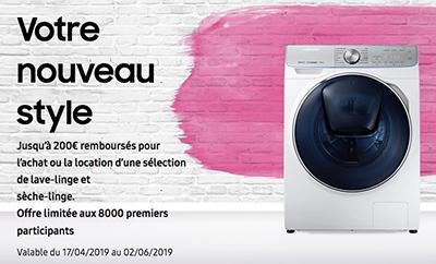 ODR Samsung : de 30 euros jusqu'à 200 euros remboursés pour l'achat de certains lave-linge / sèche-linge