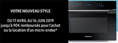 Samsung rembourse jusqu'à 90 euros sur l'achat ou la location d'une sélection de fours micro-ondes