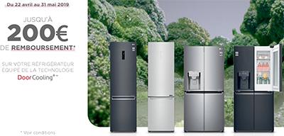 Offre de remboursement LG : de 80 euros jusqu'à 200 euros remboursés sur certains réfrigérateurs DoorCooling plus