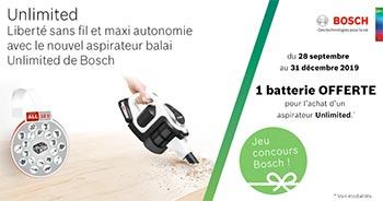 Bon plan aspirateur balais sans-fil Bosch Unlimited : une batterie offerte