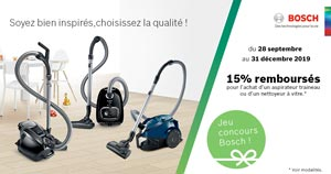 15 pour cent remboursés pour l'achat de certains aspirateurs Bosch