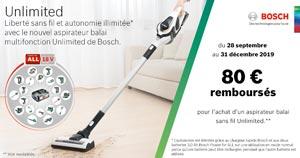 Pour l'achat d'un aspirateur balais Unlimited BCS1TOP chez les revendeurs participants Bosch rembourse 80 Euros