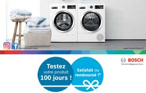 Bosch propose une offre satisfait ou remboursé sur certains lave-linge, sèche-linge et lave-vaisselle