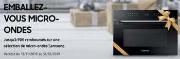 ODR fours micro-ondes Samsung : jusqu'à 90 Euros remboursés