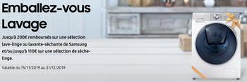 Offre de remboursement appareils de lavage Samsung : jusqu'à 200 euros sur certains lave-linge et jusqu'à 110 euros sur certains sèche-linge
