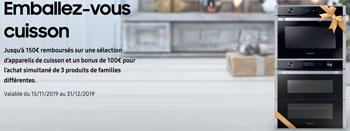 ODR Samsung équipements électroménager encastrables de l'univers cuisson : jusqu'à 150 Euros remboursés