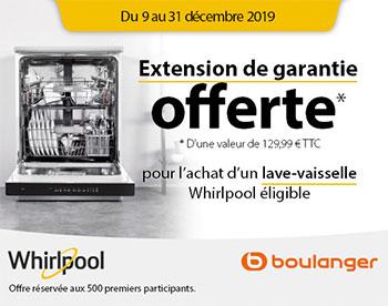 Offre Whirlpool / Boulanger : extension de garantie 5 ans remboursée sur certains lave-vaisselle