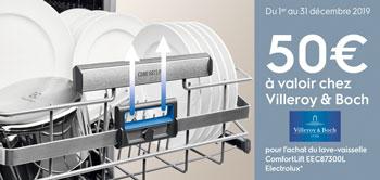 Ofre Electrolux / Darty : 50 Euros de réduction offerts sur le site Villeroy et Boch pour l'achat d'un lave-vaisselle ComfortLift