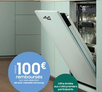 Samsung rembourse jusqu'à 100 Euros pour l'achat de certains lave-vaisselles