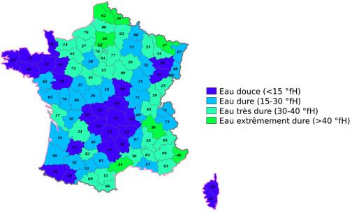 Carte de France sur la dureté de l'eau