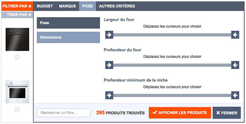 Recherchez les fours par dimensions en utilisant les filtres dans la liste de tous les fours