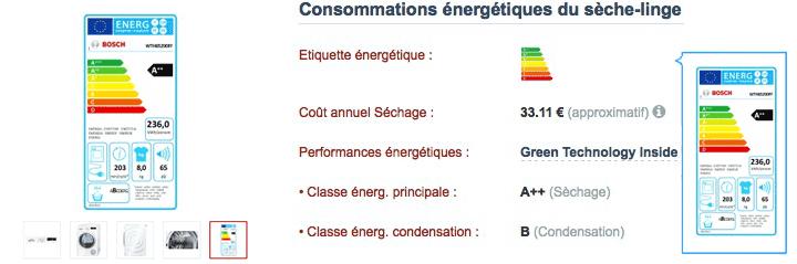 Etiquette énergie des sèche-linge dans leur diche Electromenager-Compare