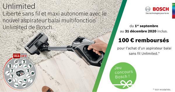 ODR Bosch Sept.Déc. 2018 : Offre Unlimited 80€ remboursés